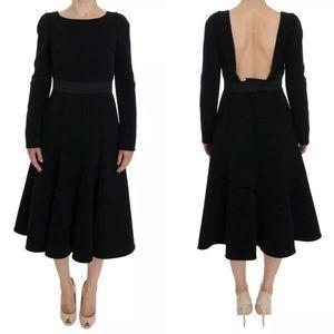 Dolce & Gabbana Black Wool Sheath Stretch Dress 44